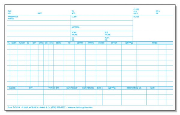 TV41N Carrier Reservation Cards
